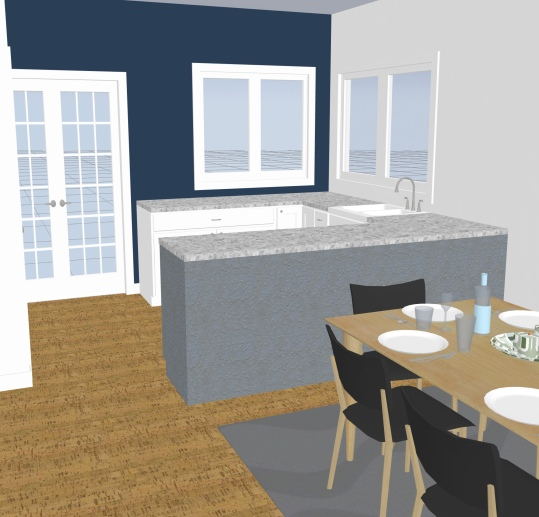 After - kitchen & dining in one open space
