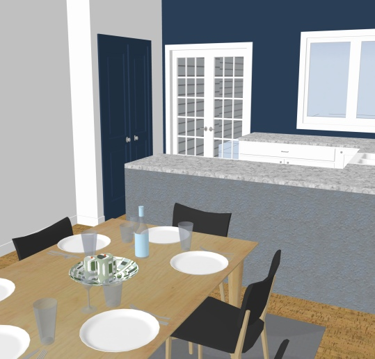 After - dinning space now with view to kitchen